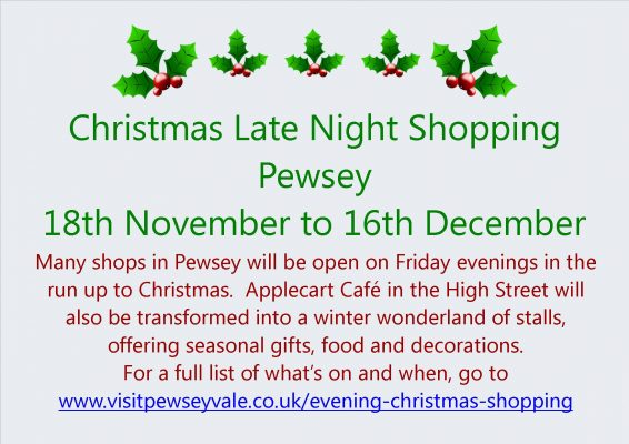 Shop local this Christmas - who's open late in Pewsey?
